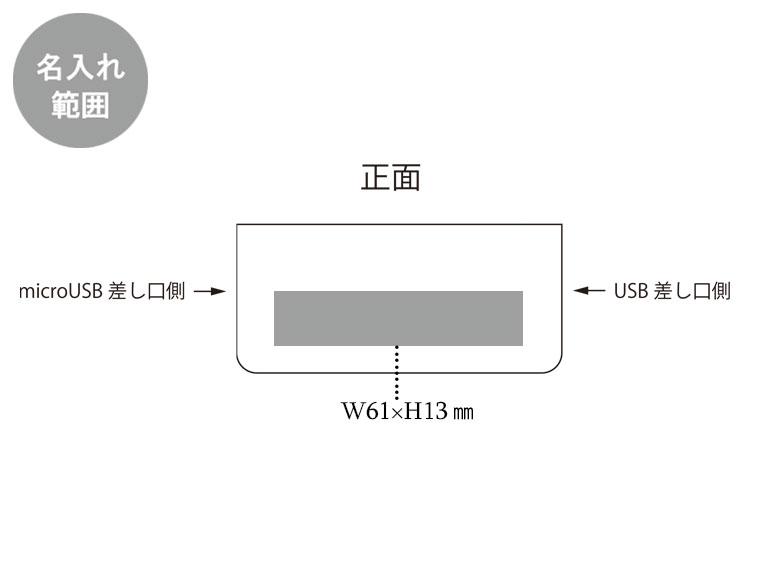 LEDライト付モバイルチャージャー2200の名入れ範囲。